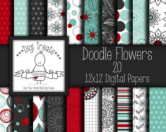 "30% OFF~Doodle Flowers, digital scrapbook paper pack. 12""x12"" (jpeg) digital papers, backgrounds ***instant download***"