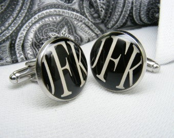 three initial cufflinks initial cufflinks monogram letters personalized cufflinks letter cufflinks monogram cufflinks