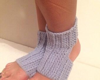 new! blue Yoga Socks crochet Pilates Socks blue   Socks  Slipper Socks Women Socks Yoga Socks Toeless Ballet Pilates Dance Warmers Crocheted