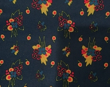 Vintage Mod Floral Flower Knit Fabric Blue Yellow Red Orange 1.5 yards