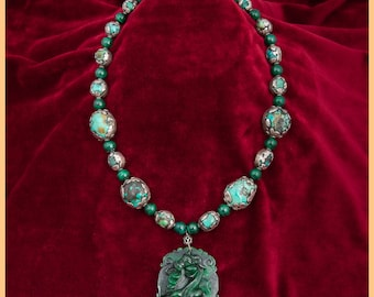 Jade Green Chinese Unique woman's necklace, carved pendant, and Tibetan capped turquoise with Zaire malachite capped in silver