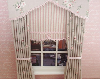 Miniature doll house curtains drapes with scalloped pelmet and  blind with pink trim and tie backs
