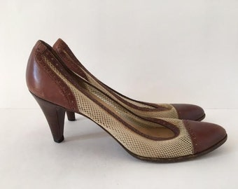 Vintage 1980s Ralph Lauren Cream Mesh and Brown Leather Heels Pumps Size 7