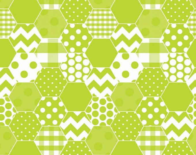 One Yard Hexi Print - Hexi in Lime Green - Cotton Quilt Fabric - RBD Designers for Riley Blake Designs - C770-32 (W3299)