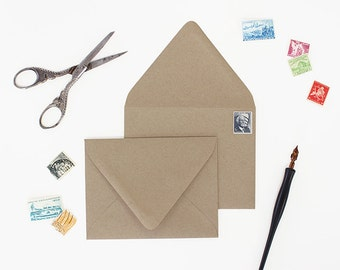 Envelopes - A7 Size - Set of 25 - Kraft Color - Deep V Euro Flap