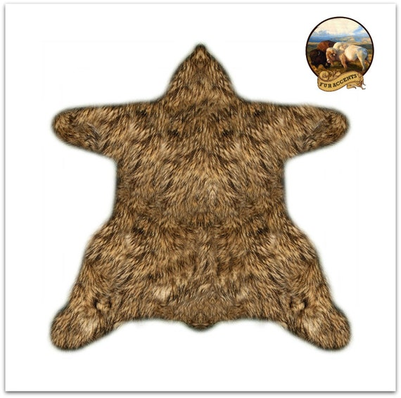 shaggy bear skin rug premium faux fur accent throw rug. Black Bedroom Furniture Sets. Home Design Ideas