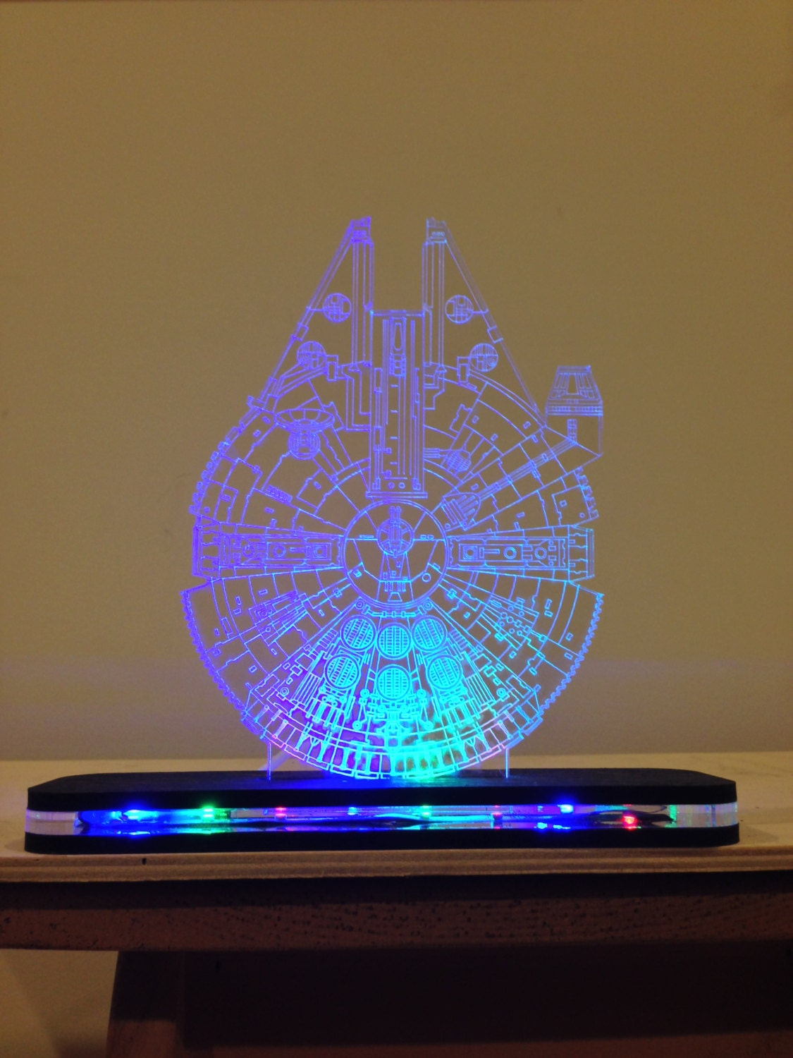 star wars millennium falcon lighted led acrylic sign. Black Bedroom Furniture Sets. Home Design Ideas