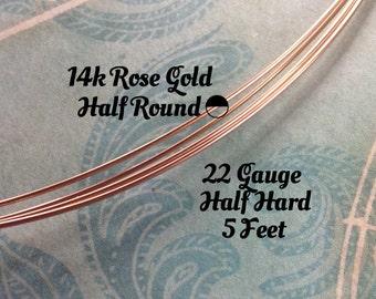 15% Off Shop! 14K ROSE Gold Filled Wire, HALF ROUND, 22 Gauge, 5 Feet, Half Hard