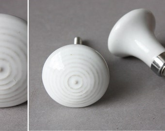 4 door knobs white stripes, drawer pulls, drawer knobs, upcycling home decor diy, ceramic handles grips, country style