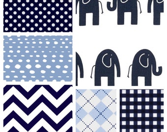 Elephants Baby Boy Crib Bedding Set with Minky Blanket, Sheet and Crib Skirt in Navy and Baby Blue