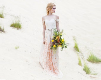 Chiffon wedding dress alternative wedding dress Romantic wedding dress Bohemian wedding dress Low back wedding dress  | Persis