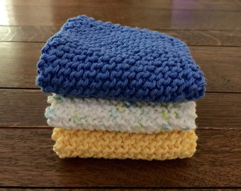 KNITTED WASH CLOTHs - Aqua / Rich Yellow / Varigated - Cotton Simple
