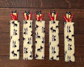 Boston terrier BOOKMARK, dog bookmark, dog lover gift, i love my dog, stocking stuffer, crazy dog lady, fabric bookmark, terrier