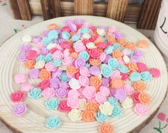 100Pieces Mixed Color Resin Flatback Flat Back Cabochon Kawaii DIY Resin Craft Decoration Resin Flower Cabochon For Handmade:10mm