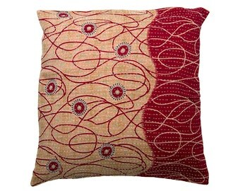 Kantha Cushion Cover - Red and beige - Large - 50cm x 50cm (19.7 inches x 19.7 inches)