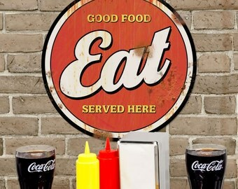 Eat Good Food Here Distressed Metal Sign 14 in - #71273