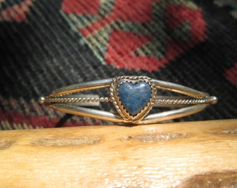 Native American Lapis and Sterling Silver Heart Cuff Bracelet
