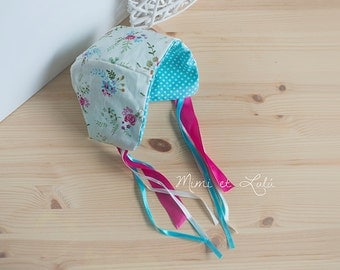 Ooak 2 in 1 bonnet for baby girls 0-3 months props photography