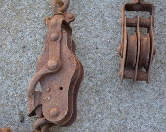 Pair of Vintage Pulley's Barn Find--Possible Maritime Pulley's