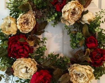 SPRING WREATH,Peony Wreath,Fall Wreath,Summer Wreath,Hydrangeas Wreath, Winter Wreath,Front Door Wreath,Boxwood Wreath,Year Round Wreath
