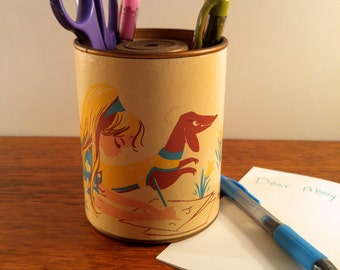 Mid Century Pencil Holder/Sharpener with Yellow and Aqua Blue Girl and Dachshund. Office & Teenage Girl's Room Decor. Desk Accessories.