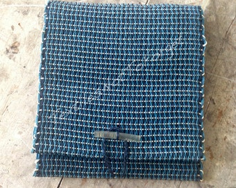 Vintage artisan made handloom chic shoulder bag, paper yarn, indigo, turquoise