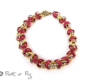 Barrel Weave Chain Maille Bracelet - Red & Gold