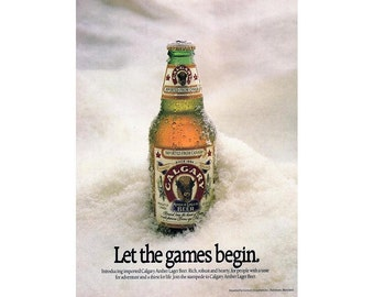 Vintage 1988 magazine poster advertisement for Calgary Amber Beer - 203