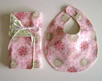 Pretty in Pink Bib and Burp Cloth Set