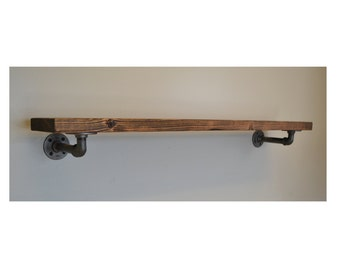 floating shelves floating shelf 36 rustic industrial pipe shelf home ...