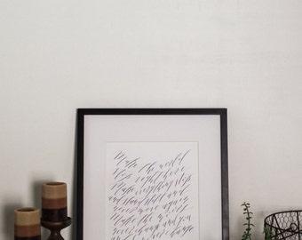 "Custom Calligraphy Print: 8x10"""