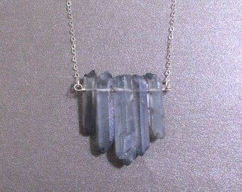 Gray Crystal Point Necklace, Quartz Rough Nugget Necklace, Modern Jewlery,