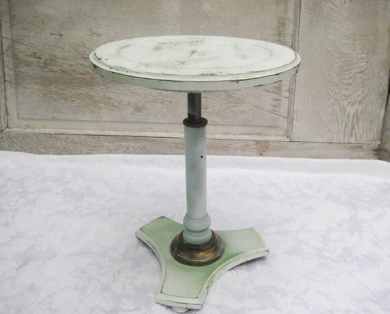 Round White Pedestal Table Vintage Small Table Distressed