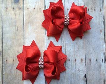 Christmas Bows - Christmas Hair Bows - Red Hair Bows - Rhinestone Hair Bows - Holiday Hair Bows - Holiday Hair Clips - Christmas Hair Clips