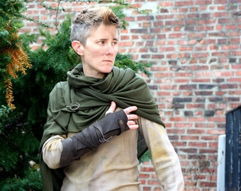 Post Apocalyptic Shawl Wrap, Charcoal Leather Bracer, Green Drape Wrap, Shoulder Cowl, Vambrace, Leather Wrap, slinky shawl, moyamensing