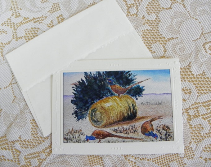 """THANKSGIVING GREETING CARD created by Pam Ponsart, of Pam's Fab Photos, from her watercolor painting titled """"Field of Plenty"""""""