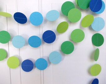 Party Paper Garland, Blue & Green Circle Garland, Birthday Party, Boy Baby Shower, Party Decoration, 12 Ft., Ships in 2-3 Business Days