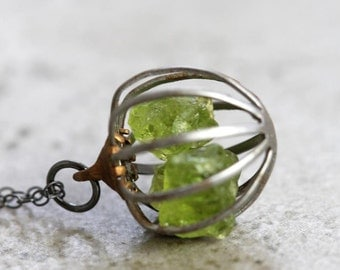 Peridot Necklace Gemstone Cage Oxidized Sterling Silver Pendant Vintage Metal Jewelry August Birthstone