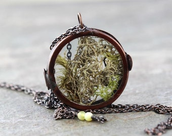 Moss Necklace Glass Locket Pendant Terrarium Necklace Long Necklace Natural Jewelry Botanical Necklace