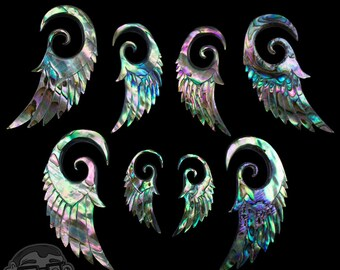 Abalone Shell Angel Wing Spirals / Plugs - Sizes / Gauges (12G, 8G, 6G, 4G, 2G)