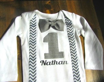 Boys First Birthday Outfit - Bow tie Suspenders - 1st Birthday Boy Outfit - First Birthday Outfit - First Birthday Boy - Cake Smash Boy