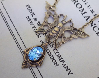 Aqua Blue ~ Butterfly Pendant ~ Vintage Glass ~ Art Deco ~ Aquamarine ~ Necklace ~ March Birthstone ~ by LadyofTheLakeJewels