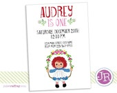 Raggedy Ann Birthday Invitation