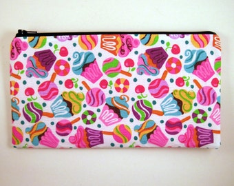 Cupcakes / Lollypop Pencil Case, Pencil Pouch, Zipper Pouch, Make Up Bag, Gadget Bag