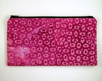 Purple Batik Zipper Pouch, Make Up Bag, Gadget Bag, Pencil Pouch