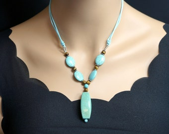 Natural Large Turquoise Necklace - Genuine Turquoise Pendant - Chunky Turquoise - Long Chain Green Stone Necklace - December Birthstone -