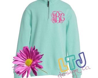 Monogrammed Quarter Zip Sweatshirt ~ Sorority Sweatshirt ~ Personalized Sweatshirt ~ Quarter Zip Pullover