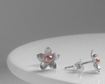 Silver and Copper daisy Studs