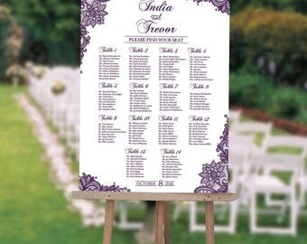 Wedding Seating Chart Board Elegant Purple LACE Printable   Printed Seating  Chart Guest List Chart Seating  Guest Seating Chart Template