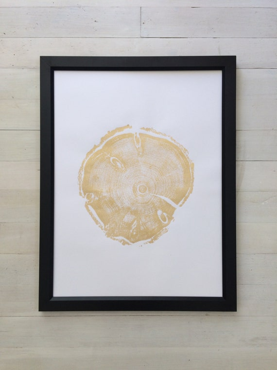Gold Tree Rings, Real Tree Stump Art, woodcut art print, tree slice, holiday art, gifts, Christmas art, Holiday art decor, Holiday gifts